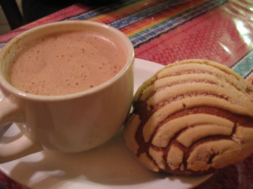 """Concha"" = sea shell & chocolate caliente= HoT Chocolate"