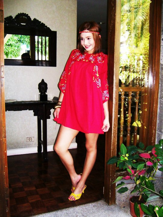 mexican red pinafore